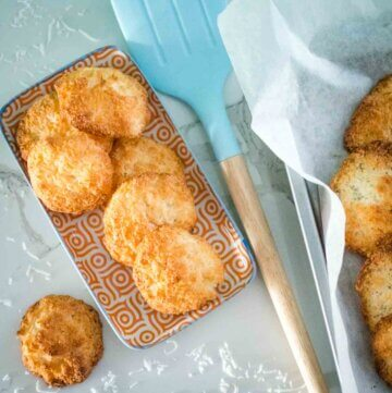 coconut macaroons on a plate with spatula