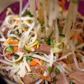 kid friendly beef and veggie noodle salad