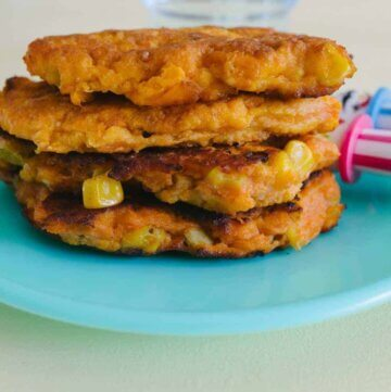 sweet potato and sweet corn fritter stack