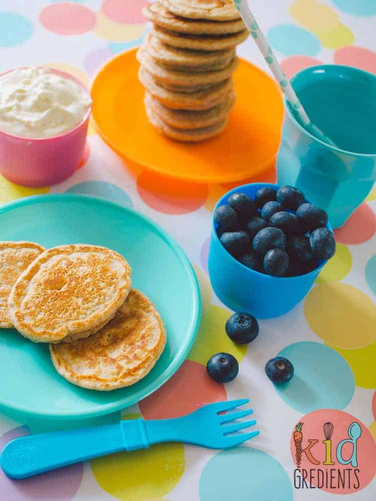 These wholemeal dairy free pikelets are my go to recipe for quick yummy no bake pikelets. These mini pancakes are low in sugar and perfect topped with yoghurt and berries.