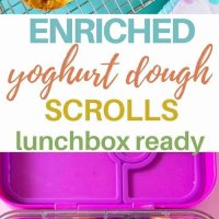 pinterest image for enriched yoghurt dough scrolls