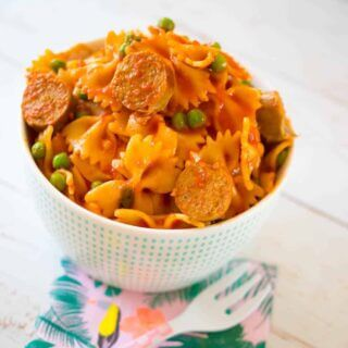 Sausage and pea pasta sauce