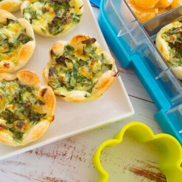 Mini cheese and spinach savoury tarts