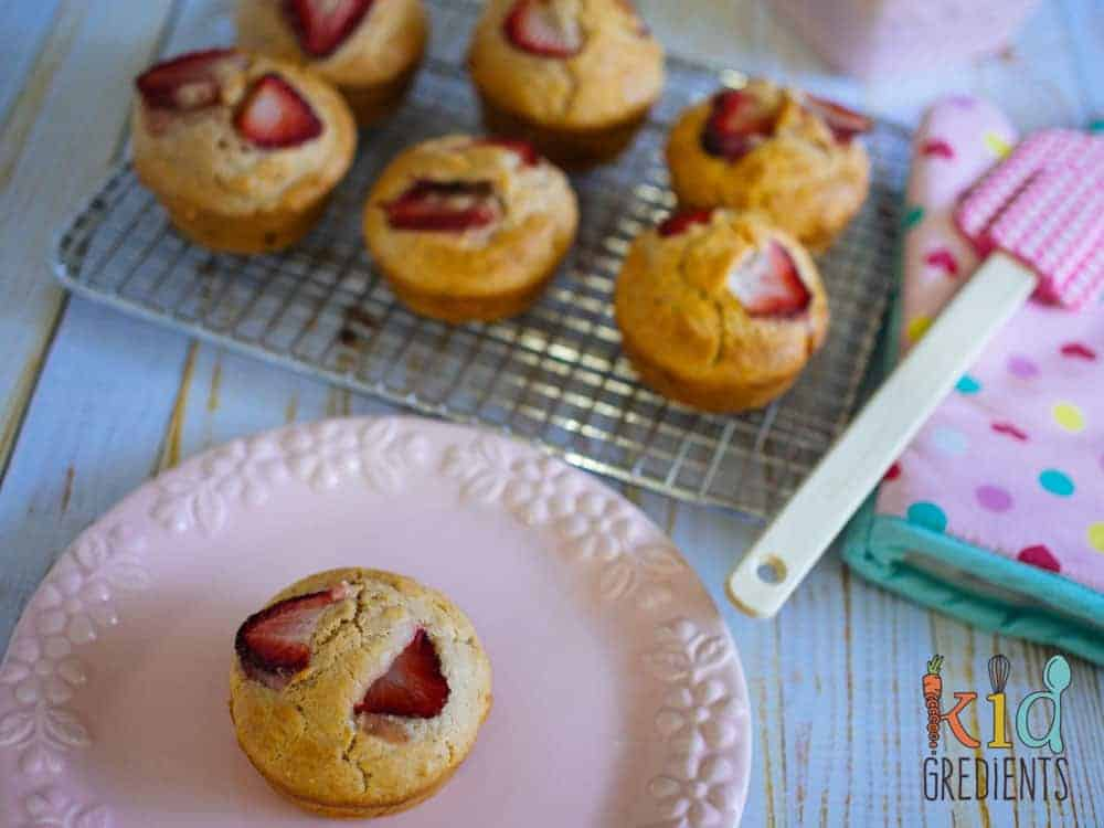 No sugar strawberry muffins. Perfect in the lunchbox and great for afternoon tea! Freezer friendly and easy to bake this recipe is a kid pleaser!