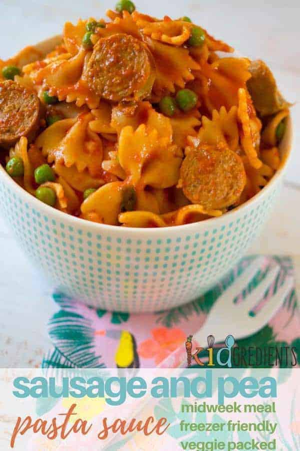 Sausage and pea pasta sauce perfect for a quick midweek dinner #kidgredients #kidsfood #pasta #sausage #midweekmeal #easydinner