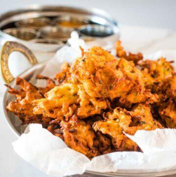 homemade onion bhajis in a dish