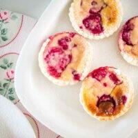ricotta raspberry tarts on a plate