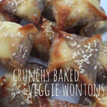 Crunchy baked veggie wontons