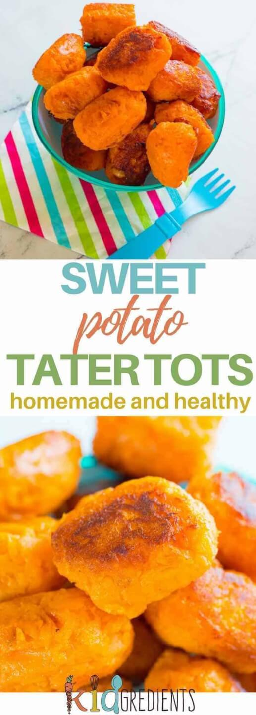 Sweet potato tater tots- or gems, perfect as a dinner side, homemade, healthy and delicious.  Dairy and egg free! #kidgredients #kidsfood #sweetpotato #recipe #side #kidseat #healthykids
