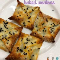 Cheese and spinach baked wontons