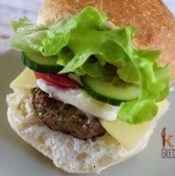 Brilliant Beef Burgers (with a cup of veggies!)