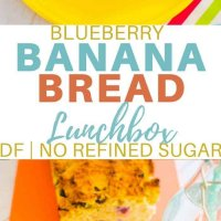 Blueberry banana bread, this recipe is perfect for the lunchbox, refined sugar and dairy free and great in the freezer! #dairyfree #kidsfood #recipe #refinedsugarfree #sweetenedwithfruit #bananabread #healthyfood