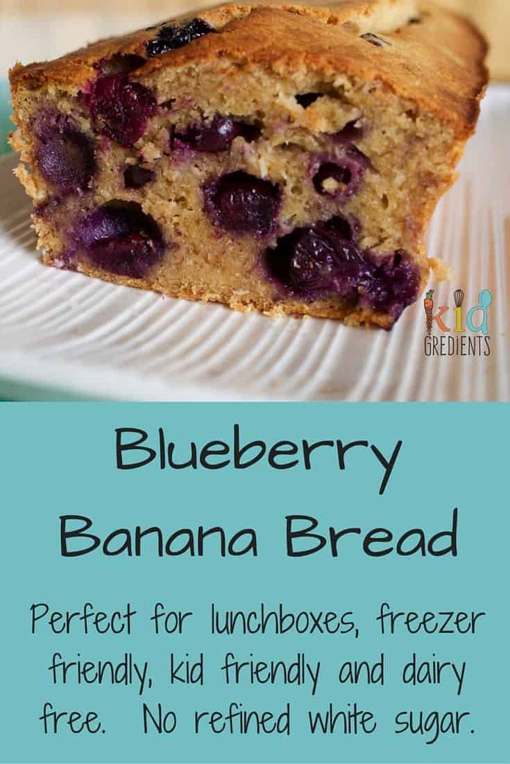 Yummy blueberry and banana bread recipe that is perfect for freezing for the lunchbox. Easy to make, kid friendly and so very tasty!