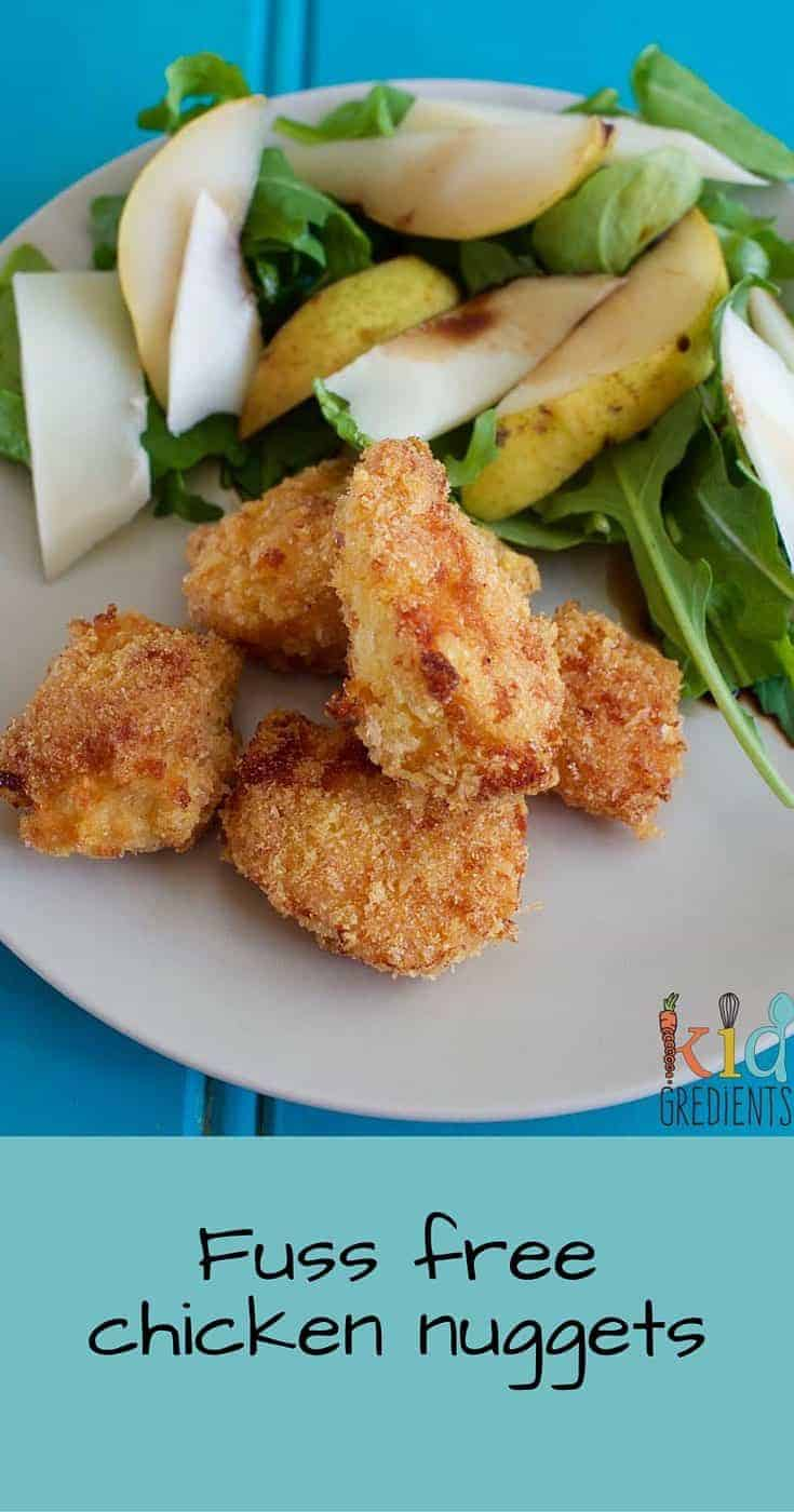 Easy to make and so yummy to eat! This recipe for fuss free chicken nuggets will please everyone.