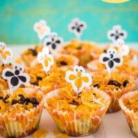healthier honey joys in beehive cupcake liners with bee picks