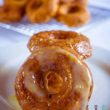sweet potato donuts with orange icing