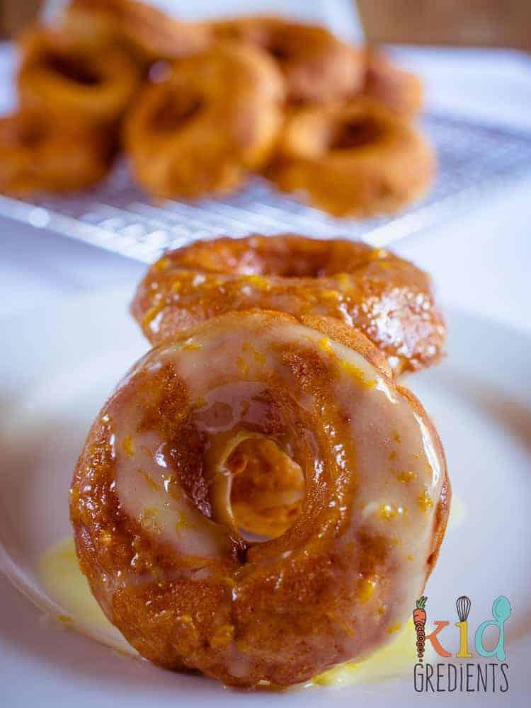 sweet potato donuts with orange icing
