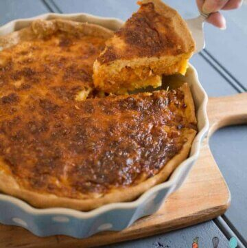 sweet potato, bacon and leek quiche