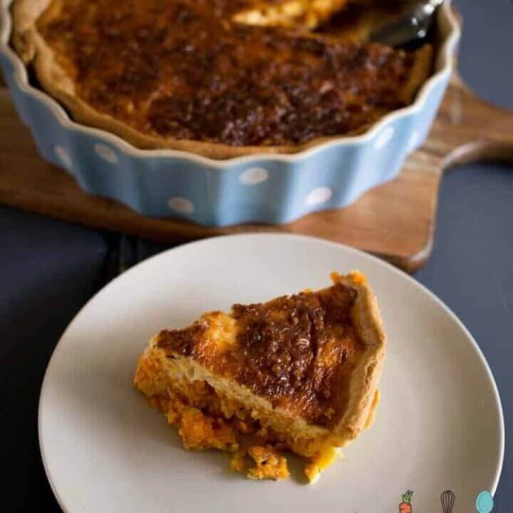 sweet potato, bacon and leek quiche
