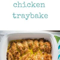 Cheesy chicken traybake. Family friendly, kid friendly, cheesy yumminess. Easy to make recipe that gives crunchy crumbs on the outside and super moist chicken! Perfect for the whole family.