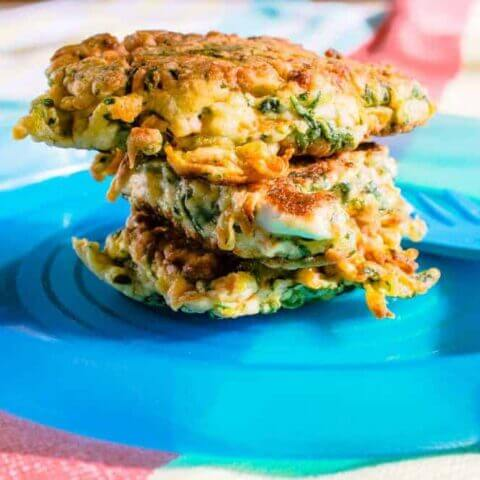 spinach, carrot and fetta fritters