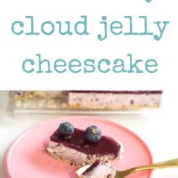 Blueberry cloud jelly cheesecake slice made with yoghurt, cream cheese and delicious blueberries! Kidfriendly and super yummy! No bake, and a show stopper!