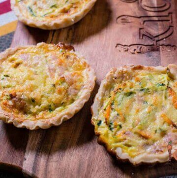 Veggie and ham mini quiches with homemade shortcrust pastry