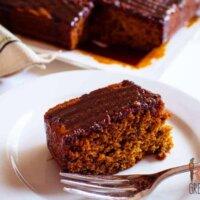 sticky date cake with caramel syrup