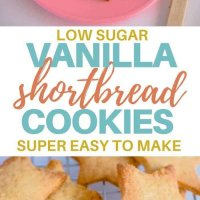 These simple healthier sweet biscuits are basically a low sugar vanilla shortbread cookie! #kidsfood #snacks #lowsugar #baking #shortbread #healthier #lunchbox