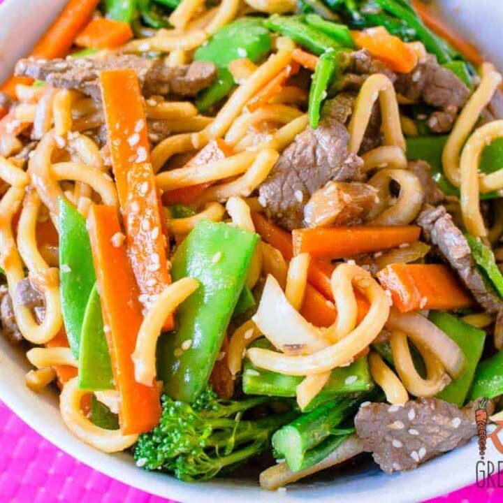 Bulgogi style beef with noodles and veggies