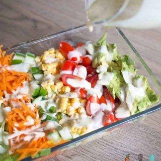 sunshine salad with mustard mayonnaise dressing
