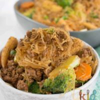 Beef mince and veggie rice noodles