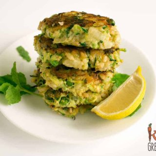 zucchini and pea brown rice fritters, perfect as a side for dinner, freezer friendly and kid friendly