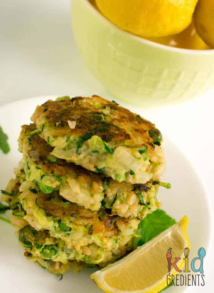 zucchini and pea brown rice fritters, perfect as a dinner side, awesome in the lunchbox