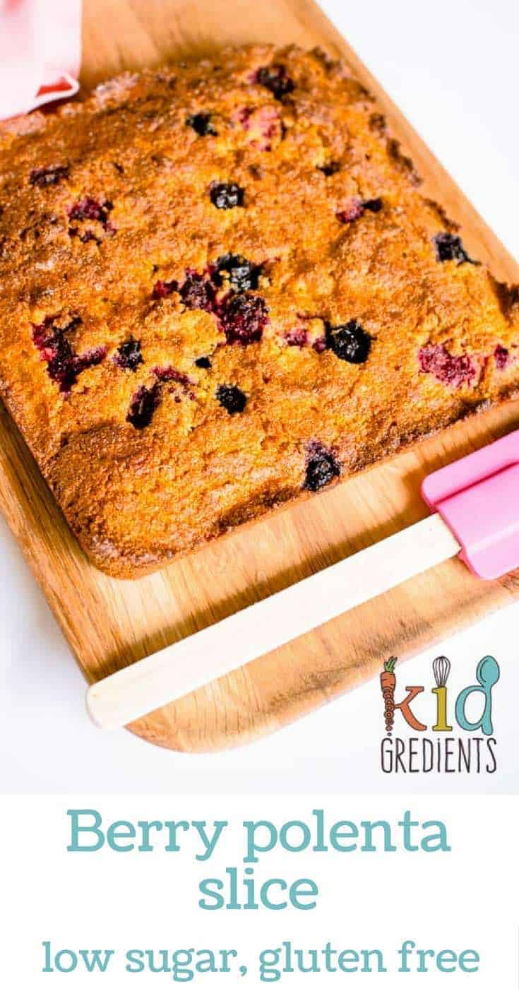 berry polenta slice, perfect recipe for the lunchbox!  Lo sugar, gluten free