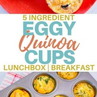 5 ingredients eggy quinoa cups. The perfect gluten free, freezer friendly snack, breakfast or lunchbox item. Packed with veggies and protein! #kidsfood #breakfast #makeahead #lunchbox #quinoa