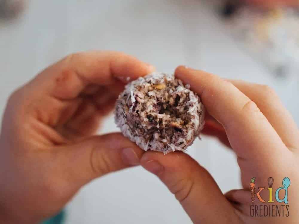 Blueberry no bake snack bites, easy dairy free recipe, perfect for snacks, lunchboxes and even for a yummy breakfast snack!