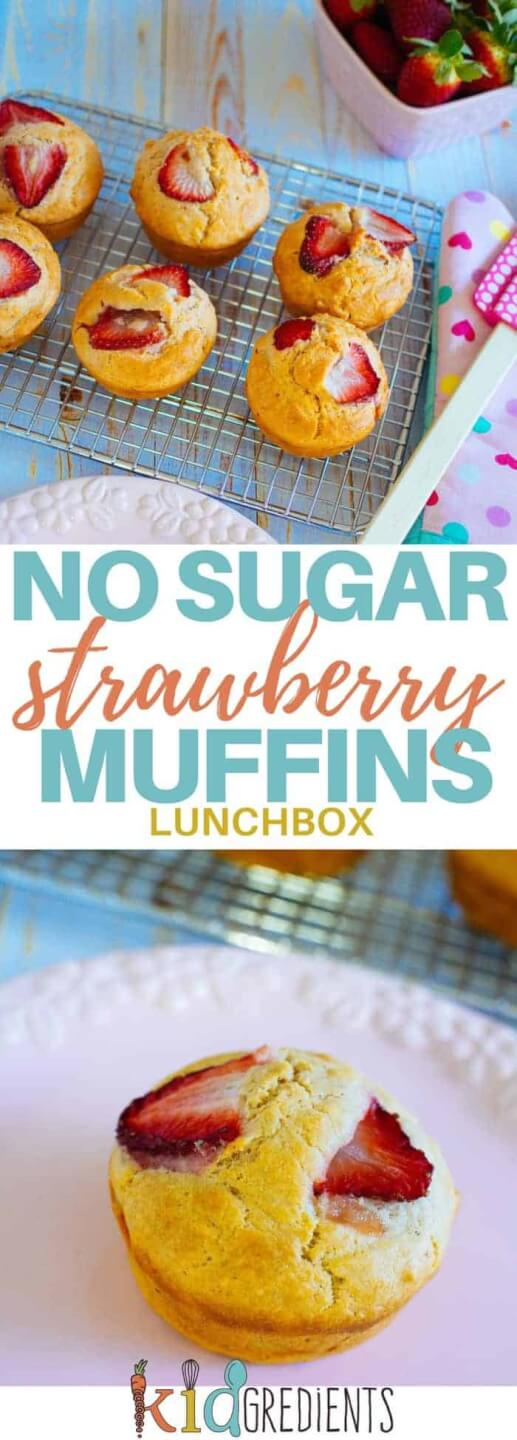 No sugar strawberry muffins. Perfect in the lunchbox and great for afternoon tea! Freezer friendly and easy to bake this recipe is a kid pleaser! #kidsfood #muffins #nosugar #baked #familyfoods #lunchbox