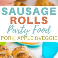 Pork, apple and veggie sausage rolls perfect as a party food and great to have in the freezer! So yummy and filled with hidden veggies.  Easy recipe the kids will love.