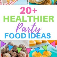 20+ healthier party food ideas. Make your next kids party healthier with these alternatives to storebought and high sugar treats! Over 20 recipes to help make parties easier and more fun! #partyfood #kidsfood #healthykidsfood