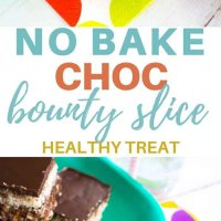 Healthy no bake choc bounty slice. So yummy, so easy to make, the perfect snack! No bake and toddler friendly- no nuts or honey! Kid friendly and freezer friendly. A not too naughty treat or snack! #recipe #kidsfood #partyfood #chocolate #healthykids #nobake #healthychocolate
