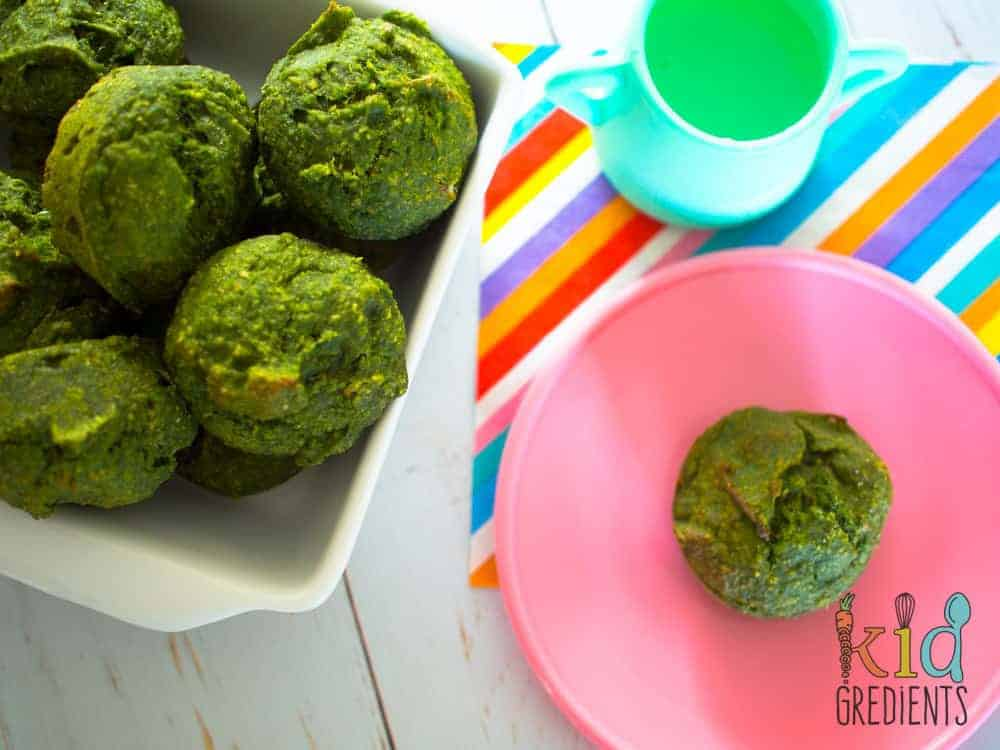 Green muffins with spinach, banana and date. The perfect way to pop extra veggies into a muffin. Turn them green, call them hulk, monster, kermit...whatever works! #kidsfood #veggies #lunchbox #hiddenveggies #toddlerfood #refinedsugarfree #muffins