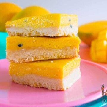 Tropical mango and passionfruit treat slice