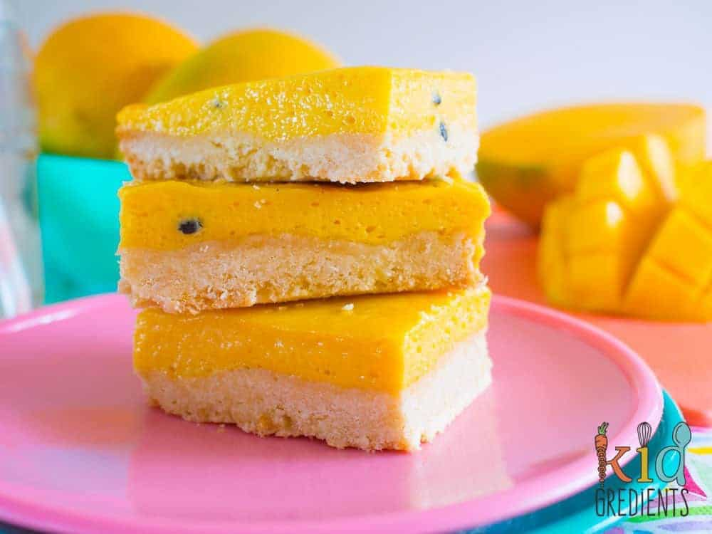 Tropical mango and passionfruit treat slice. This delicious slice is a perfect summer treat! Sweet and yummy!
