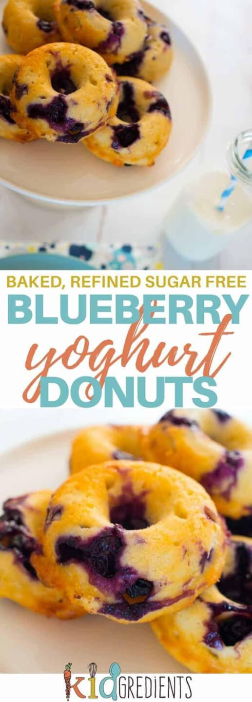 baked blueberry yoghurt donuts, the best sugar free donuts you can bake! Delicious and kid friendly! Great in the lunchbox or even for breakfast, fabulous as afternoon tea. #kidsfood #baked #blueberry #donuts #familyfood #healthyfood #healthykids #lunchbox
