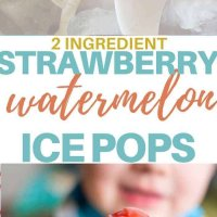 Two ingredients strawberry and watermelon ice pops easy to make a delicious! Get ready for summer now! Refined sugar free and super fast to make! #kidsfood #familyfood #iceblocks #icepops #refinedsugarfree