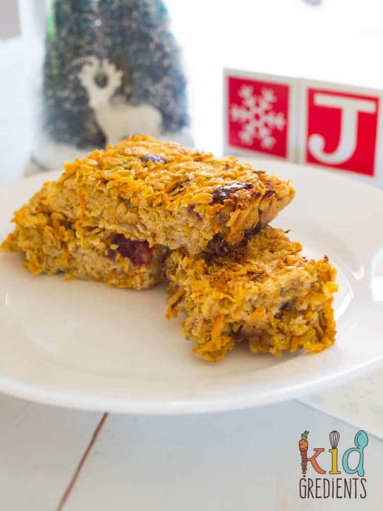 carrot oat bars, dairy free, refined sugar free