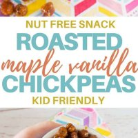 Maple vanilla roasted chickpeas, only 4 ingredients and perfect for the lunchbox! Crunchy, yummy and super easy to make. A protein hit for the lunchbox.