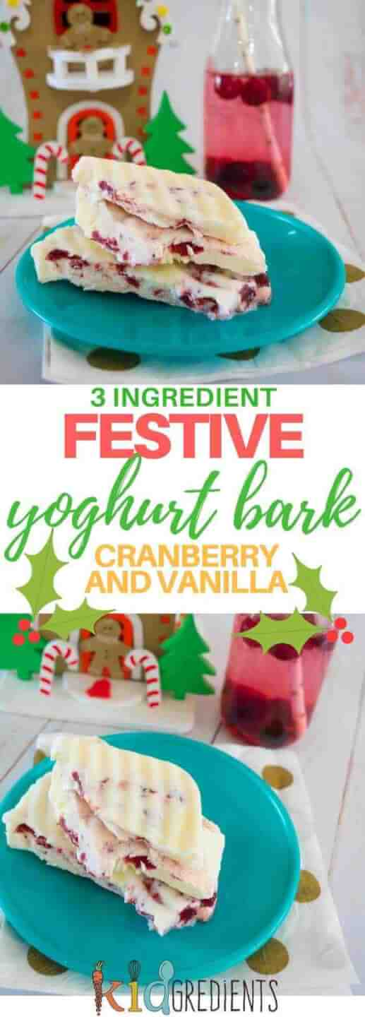 3 ingredient festive yoghurt bark, perfect for a sweet treat this holiday season!  Easy recipe and super kidfriendly #recipe #kidsfood #frozen #frozentreat