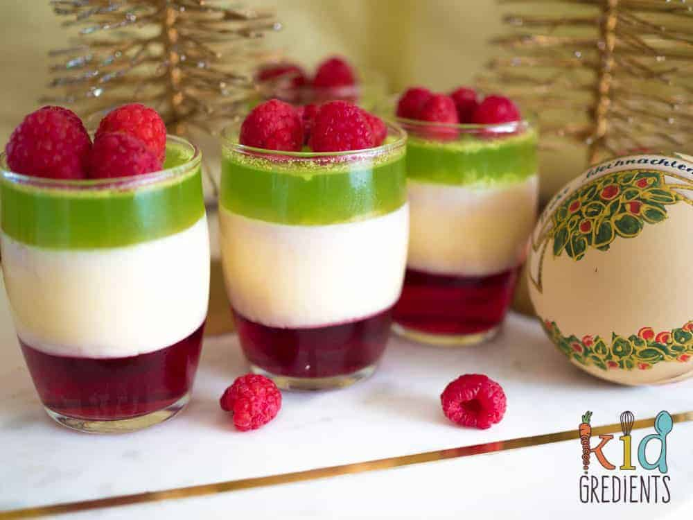 layered christmas jelly pots, a sweet treat for the festive season.